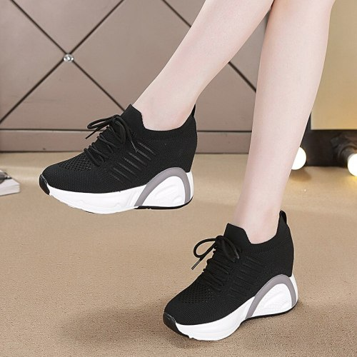 Height Increasing Women Fashion Sneakers Summer Flying Knitting Wedges Casual Shoes Breathable Lace Up Platform Sneaker