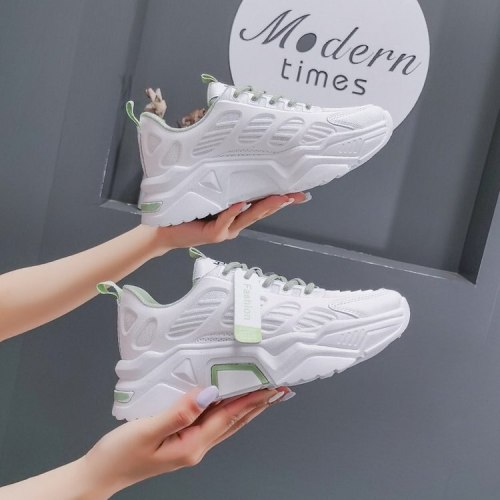 Chunky Sneakers Women Shoes New Autumn Thick Bottom Lace Up High Heels Platform Shoes Woman Solid Leather Casual Shoes Flats