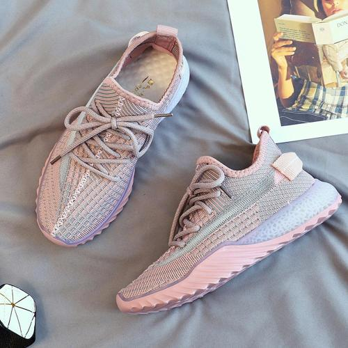 New Mesh Girls Shoes Casual Flat Running Shoes Non-slip Breathable Wear Female Shoes Fashion Fly Woven Summer Ladies Shoes