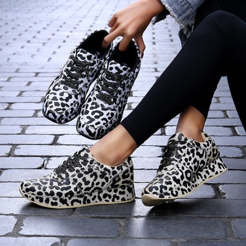 Designer Leopard Chunky Sneakers Shoes Woman 2021 Spring Non-slip Women Sneakers Platform Fashion White Lover Shoes Size