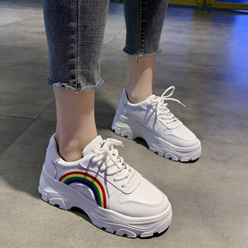2021 spring autumn new tide all-match fashion casual women chunky sneakers mixed colors low heels lace-up daddy shoes
