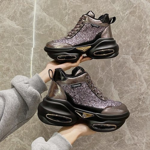 Winter Woman Platform Sneakers Bling Chunky Plush Casual Shoes Fashion Keep Warm Old Dad Vulcanized Shoes Women 7cm 2021