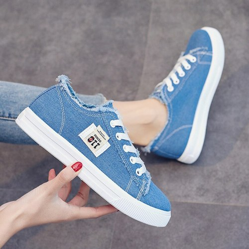 Canvas shoes woman Lace-up Spring/summer women Sneakers Denim Fashion Trainers Breathable Girl Women canvas shoes 2021