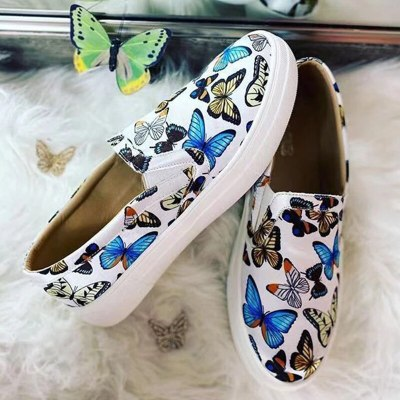 women's shoes 2021 ethnic woman canvas shoes big size 43 Colorful butterfly slip-on lady casual shoes with flat