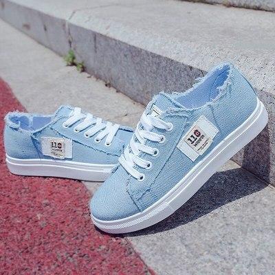Canvas Women Shoes Comfortable Shoes Flats Casual Women sneakers Denim Trainers Breathable Walking shoes Plus Large Size 43