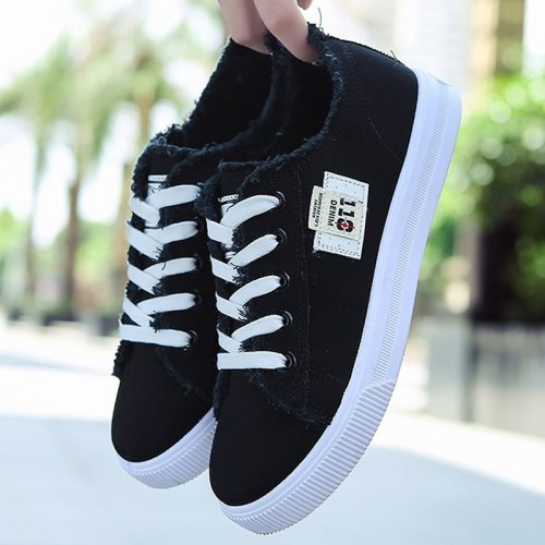 Canvas shoes Women Sneakers Denim Casual shoes Women Summer Trainers Lace Up Vulcanize Shoes Big size 35-42 Zapatos Mujer