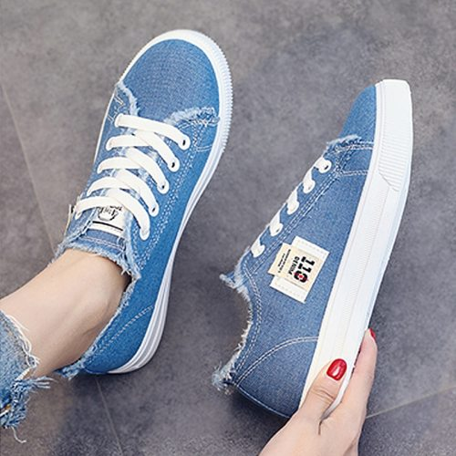 Canvas Women Shoes Comfortable Shoes Flats Casual Women sneakers Denim Trainers Breathable Walking shoes Plus Large Size 43