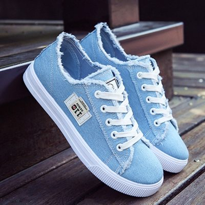 Canvas shoes woman 2021 new arrival Lace-up Spring/autumn Sneakers for girls Fashion Denim solid Blue/White casual shoes Tennis