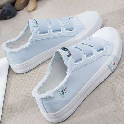 Women vulcanize shoes canvas sneakers size 4.5-8.5 female shoes hook&loop sewing casual shoes woman schoenen vrouw