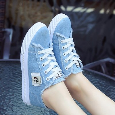 Canvas shoes for girls 2021 Spring Fashion Sneakers Solid Sewing Women Denim Shoe Sapato Feminino Size 35-43