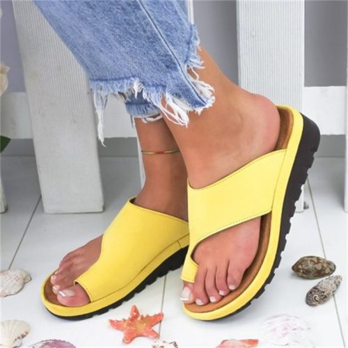 Summer Women's Slippers Solid Flat Sole Casual Comfortable Big Toe Foot Ladies Beach Sandals Platform Orthopedic Shoes