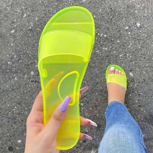 Women Slippers 2020 Summer Women Shoes Beach Flip Flops Home Bathroom Non Slip Transparent PVC Slides Sandals Slippers Women's