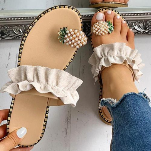 Summer Ladies Slippers Ruffles Leopard Flats Sandals New Fashion Women Shoes Casual Soft Flip Flops Plus Size Females Slides