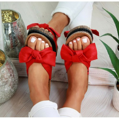 Women's Bow Tie Slippers 2020 Summer Fashion Slippers 35-43 Size Dress Home Slip On Comfortable Female Beach Slides