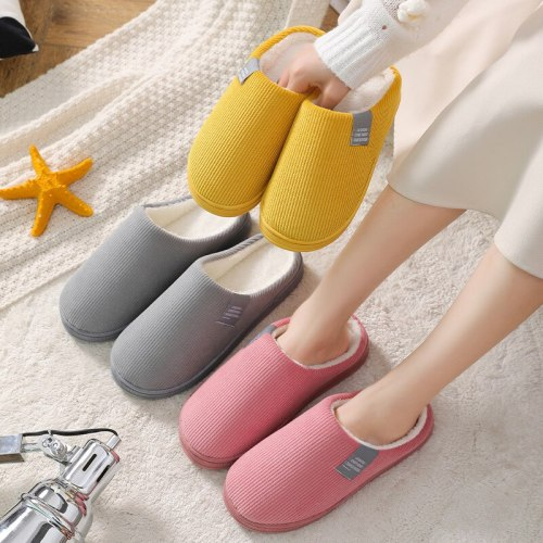 2020 Women Winter Slippers Vertical Striped Corduroy Plush Warm Shoes Couple Indoor Non-Slip Cotton Slippers Ladies Bedroom Shoe