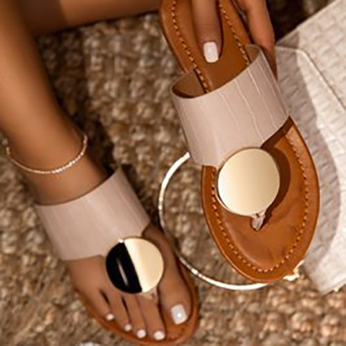 Women Flat Shoes Casual Plus Size Comfortable Ladies Slippers Summer Solid Metal Decoration Female Slides Flip Flops Beach