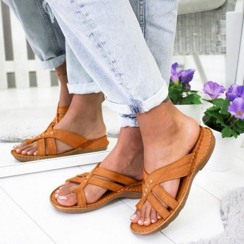 Women's Flat Sandals Summer New Soft Wedge Outdoor Casual Beach Flip Flop Home Comfortable Female Slippers Plus Size