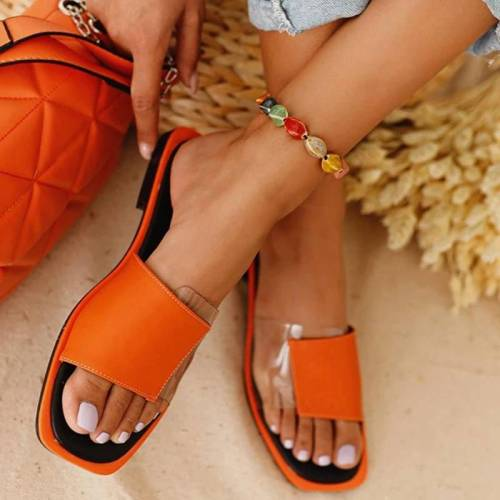 Women Slides 2020 Patchwork Open Toe Flat Women Shoes Casual Sandals Summer Solid Outdoor Beach Plus Size Women Flat Slippers