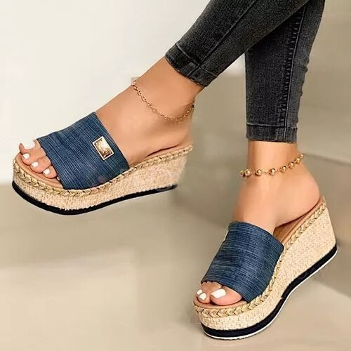 Summer Women Wedge Slippers Platform Sandals Soft Comfortable 2020 New Casual Shoes Outdoor Beach Sandals Ladies Slippers