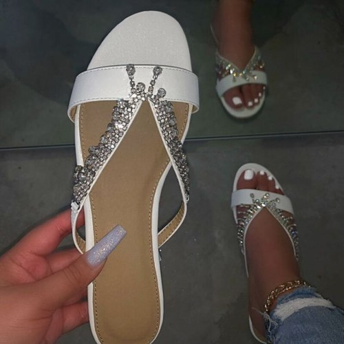Summer Slippers Women's Sandals Fashion Diamond Pearl Cross-Strap Slippers Sandals Flats Casual Ladies Shoes Women Slides