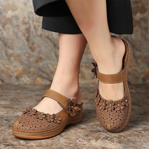 Platform Slippers Women Summer Wedges Rome Slides Flower Solid Casual Shoes Female Plus Size Beach Slippers Ladies Sandals