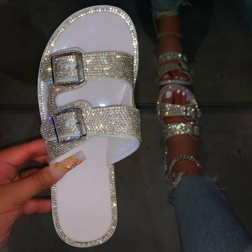 Women Slippers 2020 Fashion Rhinestone Outdoor Women Shoes Beach Flip Flops Plus Size Solid Buckles Sandals Slippers Women's