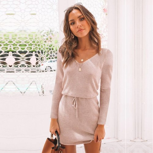 2020 New Autumn Casual Lace Up Dress Women Full Sleeve Solid V Neck Short Dress Office Lady
