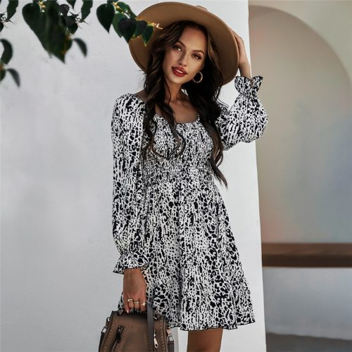 Spring Summer Print Dress Women Casual High Waist Butterfly Sleeve Slim Dress For Women New Fashion Square Collar