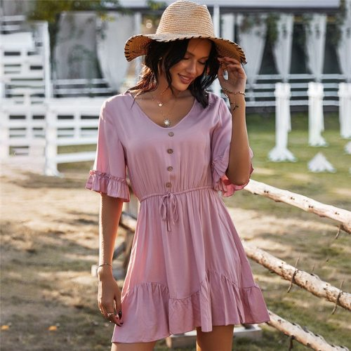 Spring New Ruffles Solid Dress Women Casual V Neck Short Sleeve Sling Dress For Women 2021 Lace Up Button Summer Dress