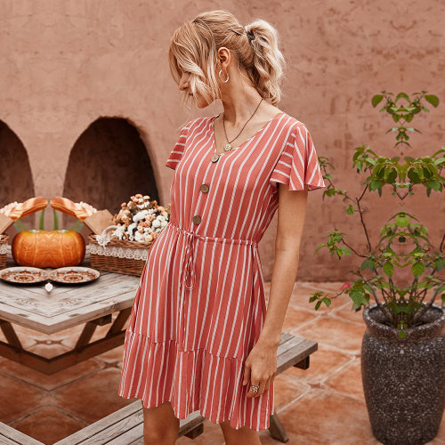 2020 New Summer Butterfly Sleeve Striped Dress Women Casual Cotton V-neck Button High Waist Knee-length Dress