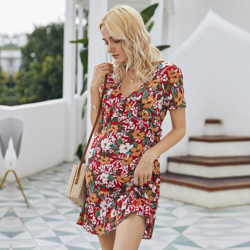 2020 New Summer Cotton Short Print Dress Women Casual Ruffles Short Sleeve V-neck Above Knee Mini Dress