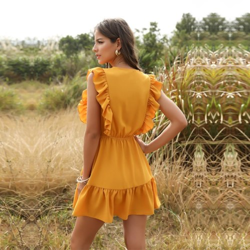 Summer Casual Lace Up Short Dress Street Style Button V-neck Butterfly Sleeve Solid Above Knee Mini Dress 2020 New