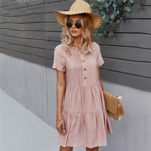 Spring New Solid Short Dress Women 2021 Casual O Neck Button Summer Dress Ladies Loose Short Sleeve A Line Dresses