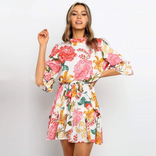 Summer Fashion Short Lace Up Print Dress Women Above Knee Casual O Neck Half Sleeve Mini Dress 2020 New