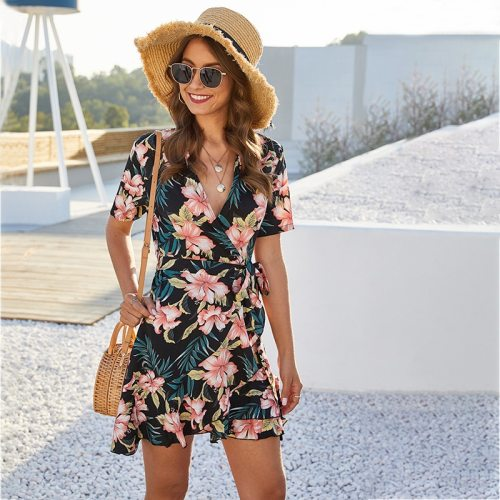 2021 New Fashion Summer Floral Short Dress Women Casual V-neck Lace Up Print Mini Short Sleeve Print Ladies Dress