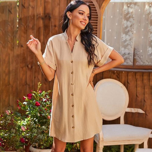 Fashion Spring Solid Single Breasted Dress Women Casual Short Sleeve Loose Dress For Woman 2021 New Summer High Waist Dress