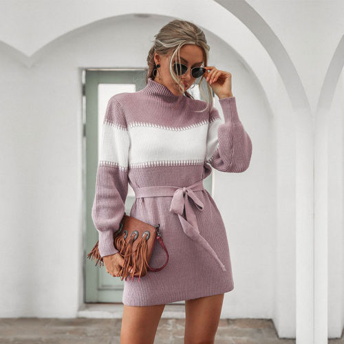 Autumn Winter Half Turtleneck Knitted Dress Women Casual Lantern Sleeve Slim Short Hip Bandage Dress For Women 2020 New Fashion