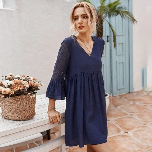 Summer  Cotton Elegant Fashion Flare Sleeve Lace Dress Women Office Lady V-neck Solid High Waist Above Knee Mini Dress 2020 New