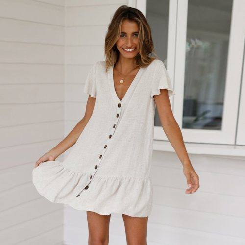 Spring New Ruffles Mini Dress Women Casual Solid Color V Neck Elegant Full Sleeve Button Dress For Women 2021 Summer Dress