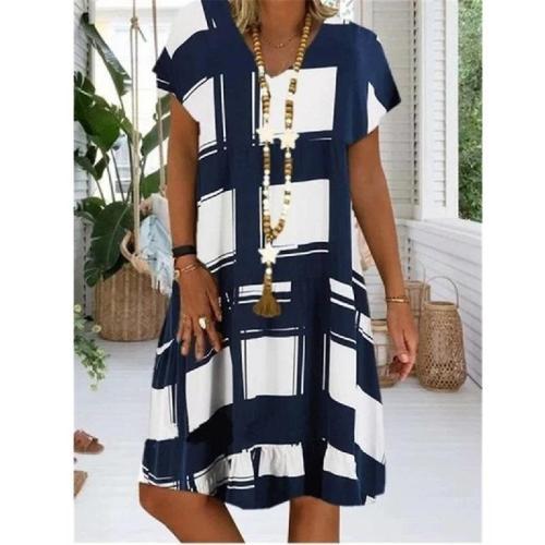 S-5XL Plus Size Dress  A Line Midi Dress Retro Printed Loose-Fit Beach Casual Dresses