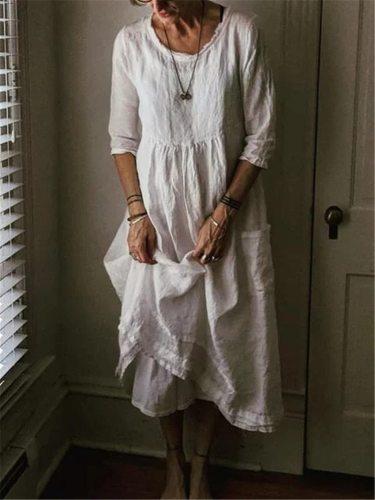 Plus Size 2020 Autumn Long Dress Women Solid White Loose O Neck Pocket Dresses Linen Three Quarter Sleeve Casual Dress
