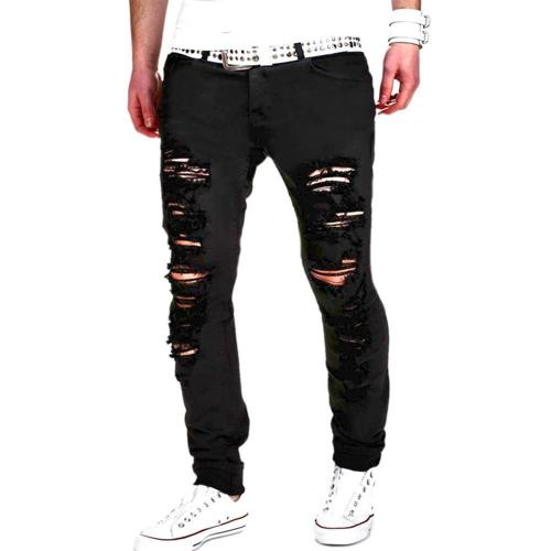 Casual Mid Waist Hole Zipper Jeans