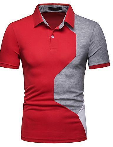 Men Color Block Collar Slim Polo Shirt