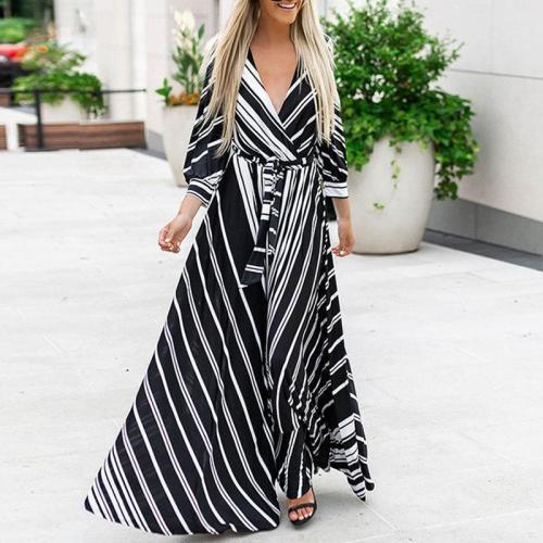 Women's fashion V-neck contrast color striped print dress