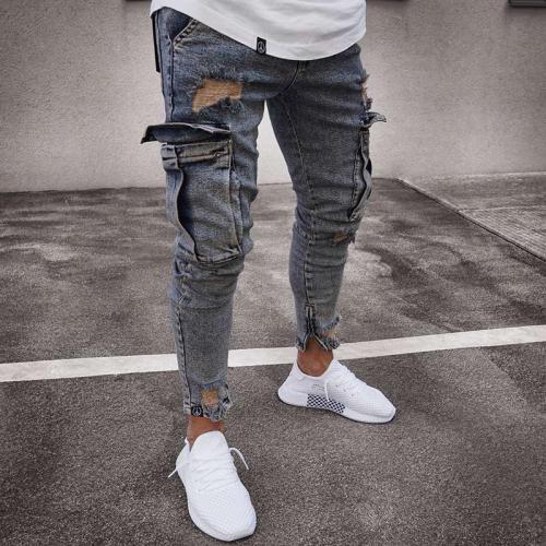 Ripped Hole Side Pockets Zipper Bottom Jeans Denim