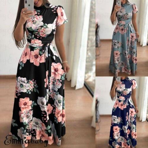 Summer New Women Sexy Fashion Floral Print Dress Bandage Short Sleeve Sexy Casual Long Maxi Elegant Ladies Dress