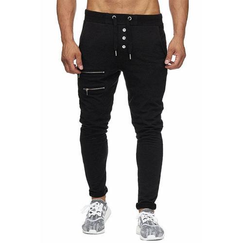 Men's casual sports zipper trousers