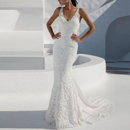 Lace Deep V Sleeveless Evening Dress