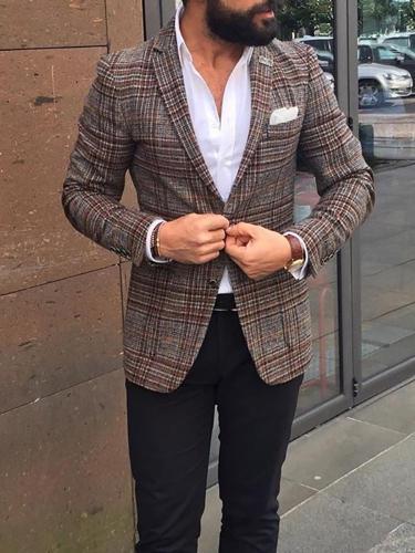 British Style Slim Check Blazer