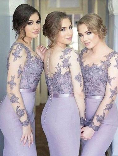 Lace Appliquce Illusion Bridesmaid Dresses Long Mermaid Formal Wedding Bridesmaid with Sleeve Wedding Guest Dress Plus Size